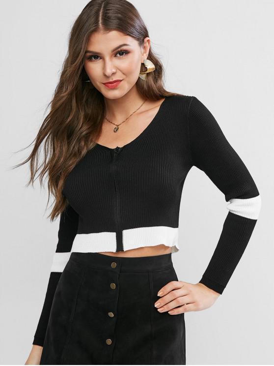 online Zip Up Ribbed Cropped Cardigan - BLACK ONE SIZE