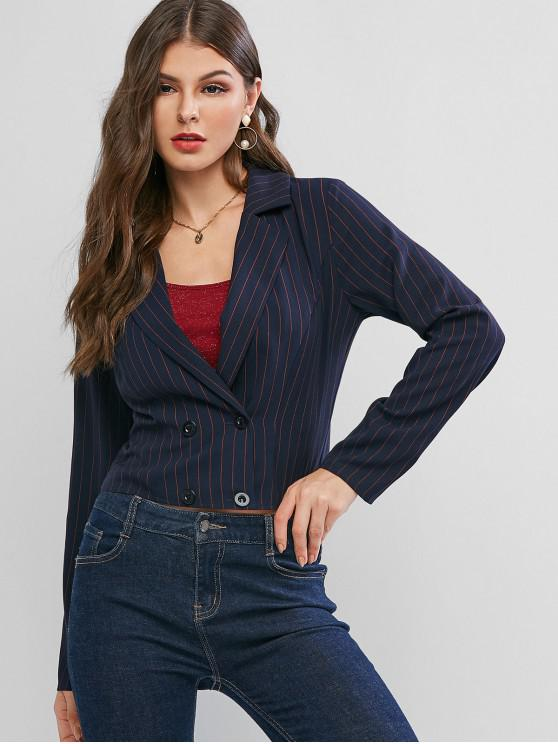 shops ZAFUL Stripes Double Breasted Short Blazer - DEEP BLUE S