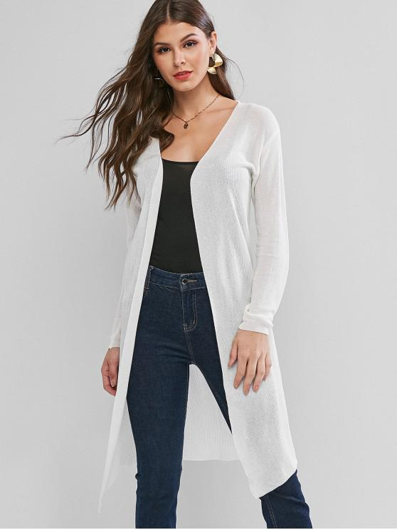 unique Collarless Open Front Longline See Thru Cardigan - WHITE XL