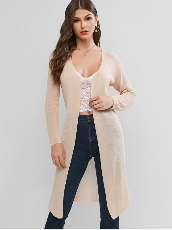 affordable Collarless Open Front Longline See Thru Cardigan - APRICOT XL