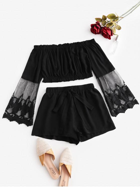 chic ZAFUL Off Shoulder Mesh Panel Knotted Two Piece Suit - BLACK S