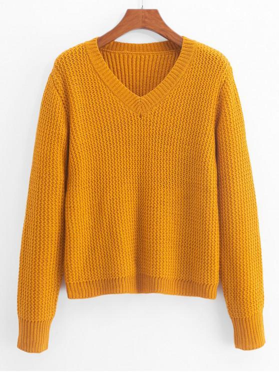 sale ZAFUL Plain V Neck Zigzag Knit Sweater - BEE YELLOW S
