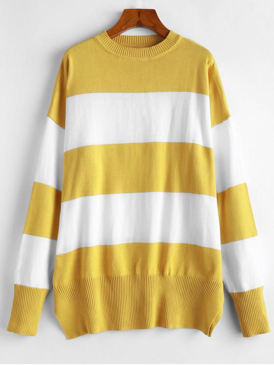 unique Colorblock Striped Boyfriend Sweater - YELLOW M