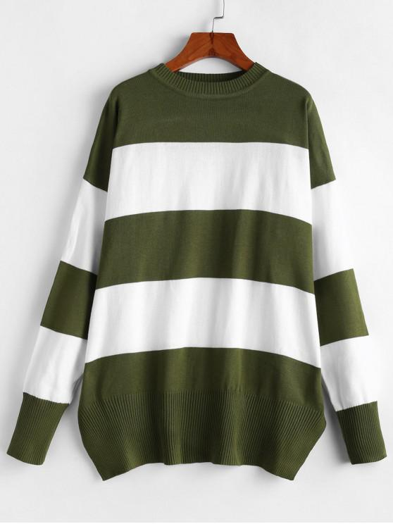 sale Colorblock Striped Boyfriend Sweater - GREEN S