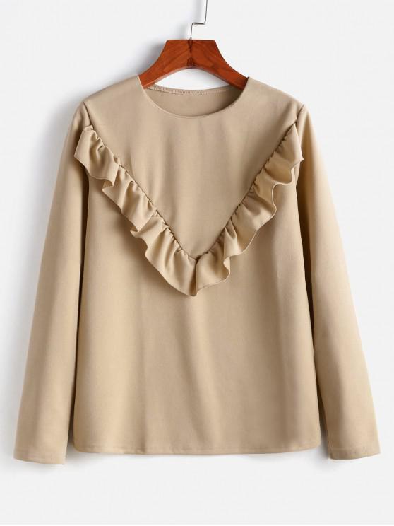 Volante de manga larga de la blusa - Marrón XL