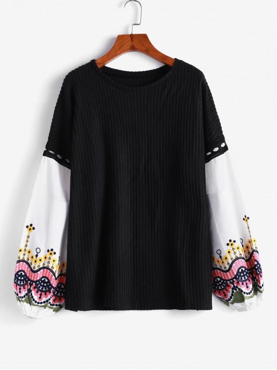 ladies Embroidery Spliced Lantern Sleeves Sweater - BLACK XL