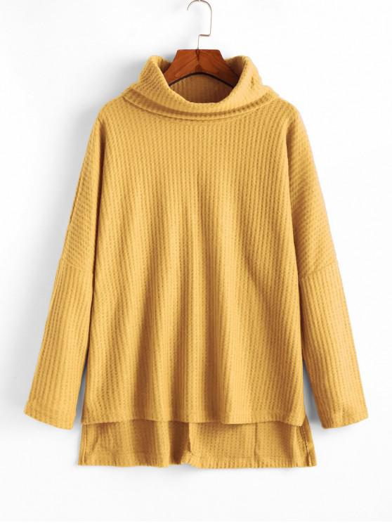 new Cowl Neck High Low Sweater - YELLOW S