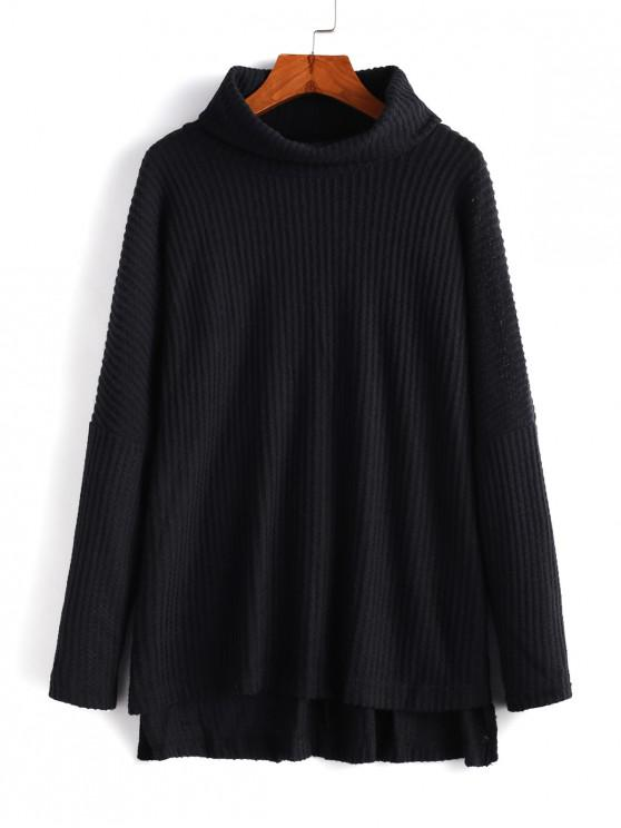chic Cowl Neck High Low Sweater - BLACK L