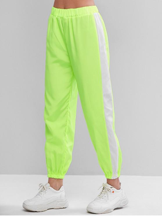Vita alta contrasto Neon pareggiatore pantaloni - Verde Giallo M