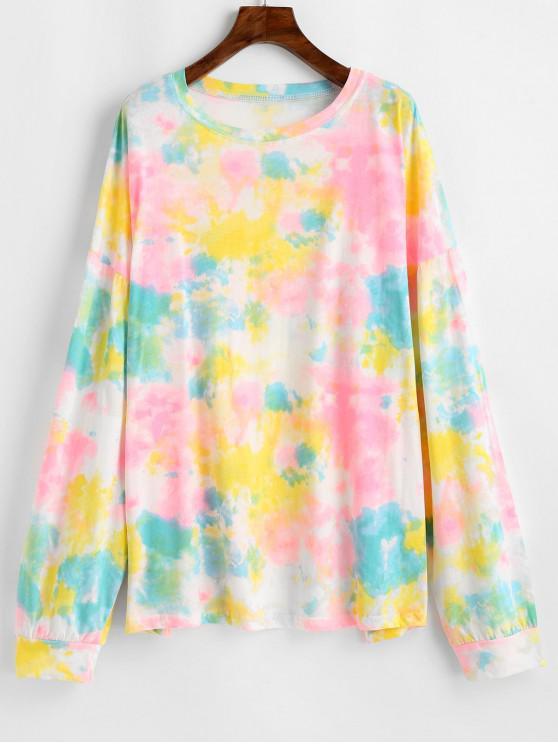 Падение плеча Tie Dye ярусной футболка - Многоцветный-Б Один размер
