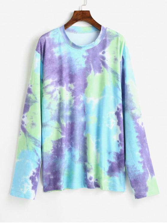 lady Tie Dye Drop Shoulder Longline T-shirt - MULTI ONE SIZE