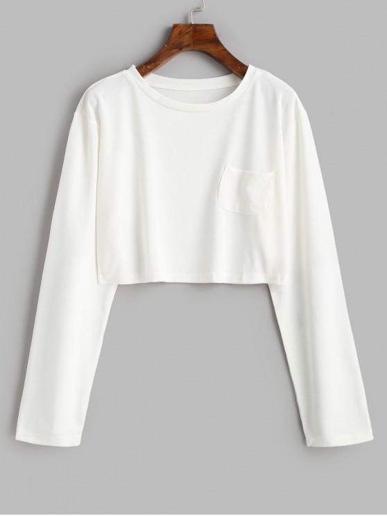 Cultivos de bolsillo del color sólido Tee - Blanco L