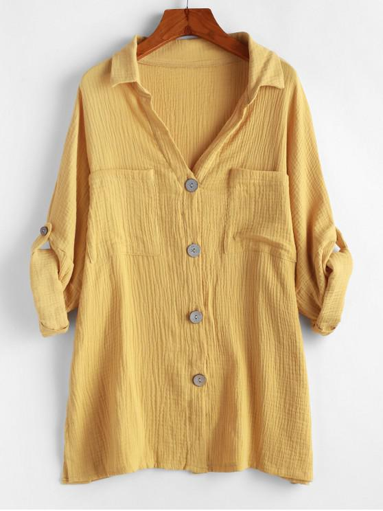 latest Buttons Boyfriend Shirt - YELLOW S