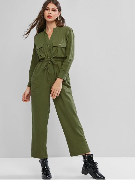 shops Buttoned Pockets V Neck Drawstring Jumpsuit - ARMY GREEN M