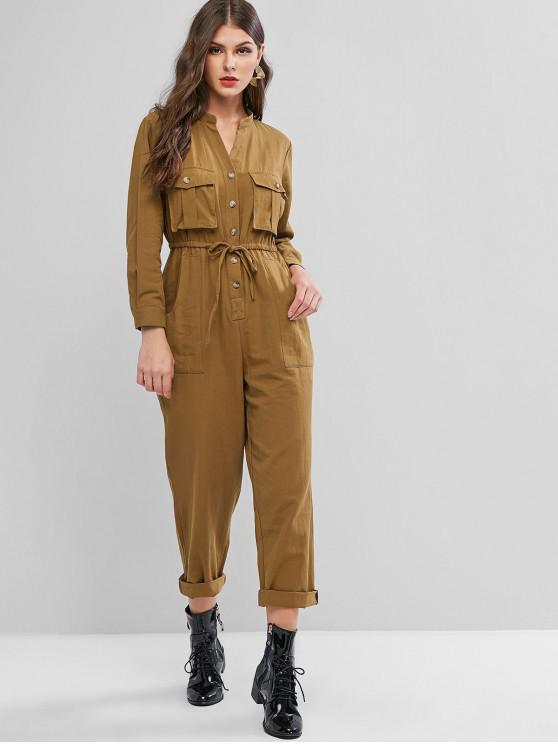 outfits Buttoned Pockets V Neck Drawstring Jumpsuit - BROWN S