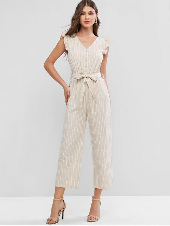 lady Buttoned Striped Belted Wide Leg Jumpsuit - LIGHT KHAKI M