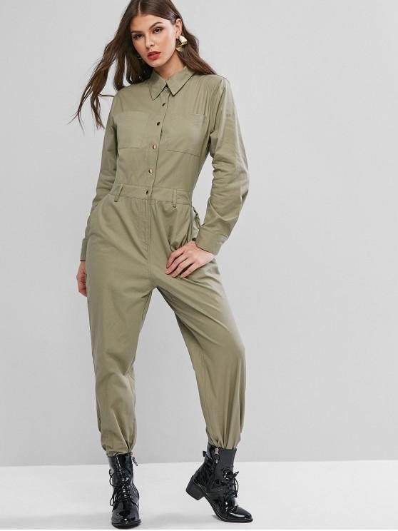 ladies Snap Button Solid Pockets Shirt Jumpsuit - ARMY GREEN M