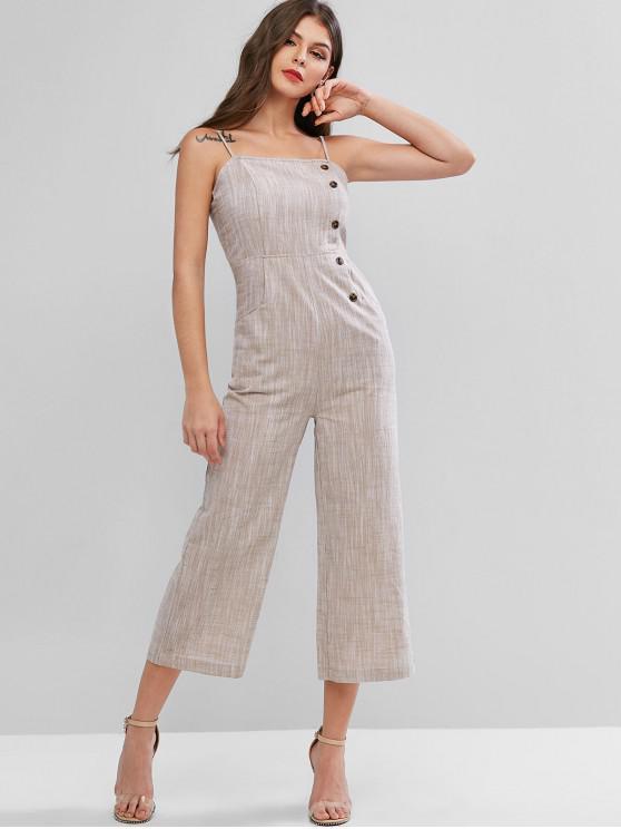 buy Buttons Smocked Back Heathered Cami Jumpsuit - LIGHT KHAKI M