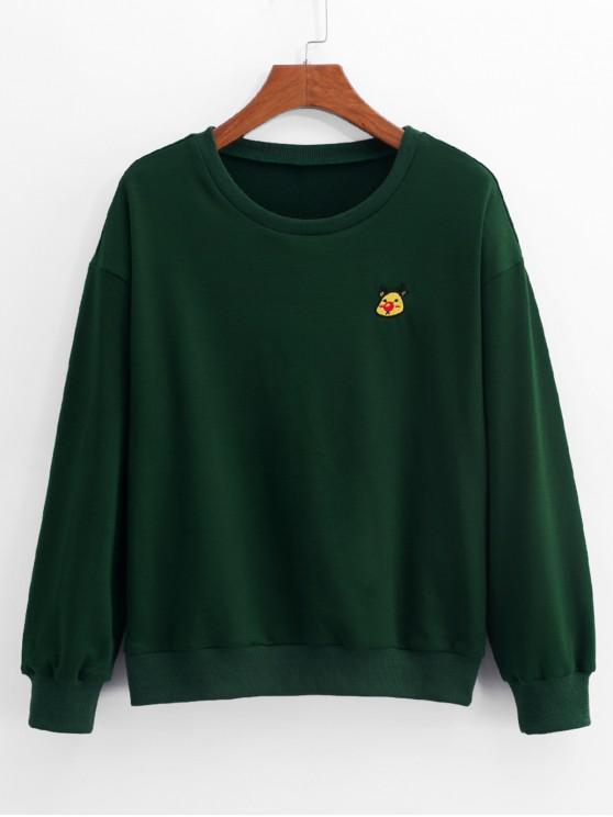 ZAFUL Sweat-shirt Décontracté Tête de Cerf Brodée à Manches Longues - Vert Forêt Moyen L
