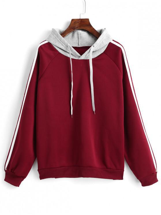 women Side Striped Raglan Sleeves Drawstring Hoodie - RED WINE S