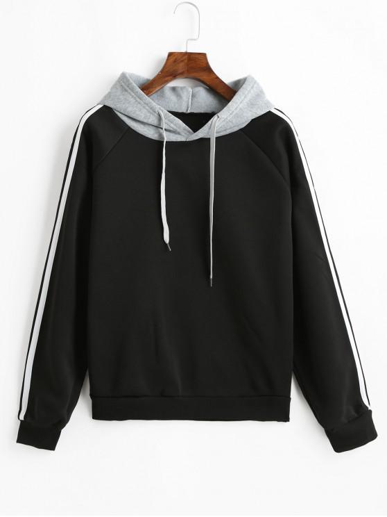 best Side Striped Raglan Sleeves Drawstring Hoodie - BLACK M