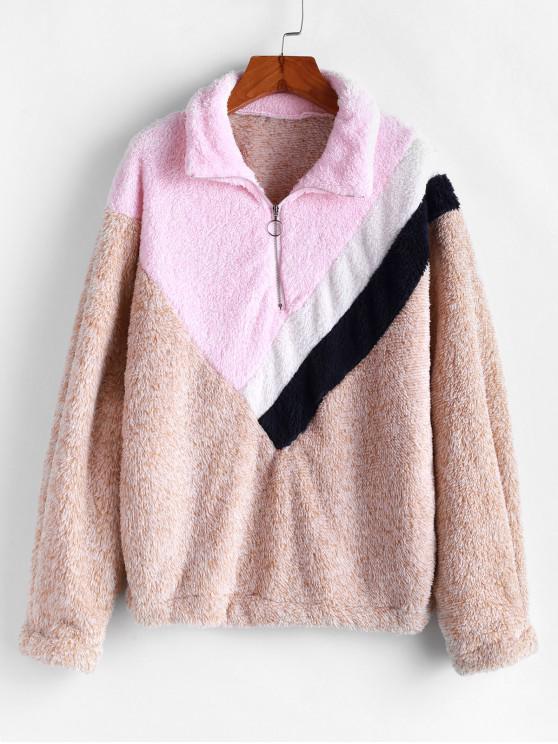 ladies Half Zip Fuzzy Colorblock Sweatshirt - MULTI XL