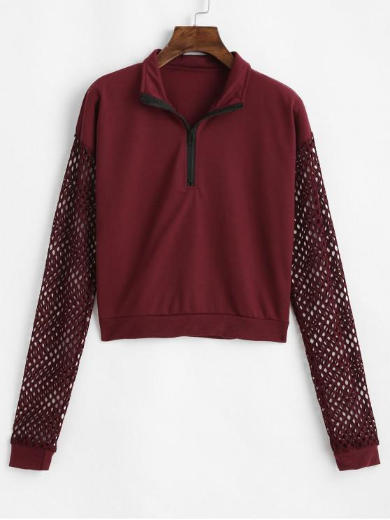 Sweat-shirt Lâche Panneau en Résille à Demi-Zip - Rouge Vineux M