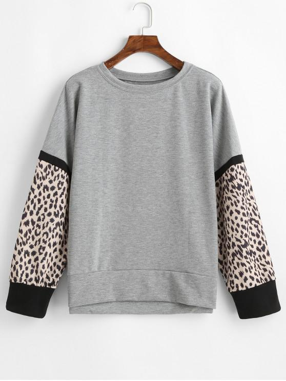 womens Casual Leopard Insert Drop Shoulder Sweatshirt - GRAY S