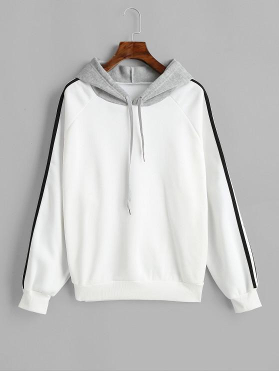 unique Side Striped Raglan Sleeves Drawstring Hoodie - WHITE S