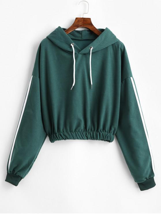 Side listrado colhido cordão Hoodie - Verde Escuro S