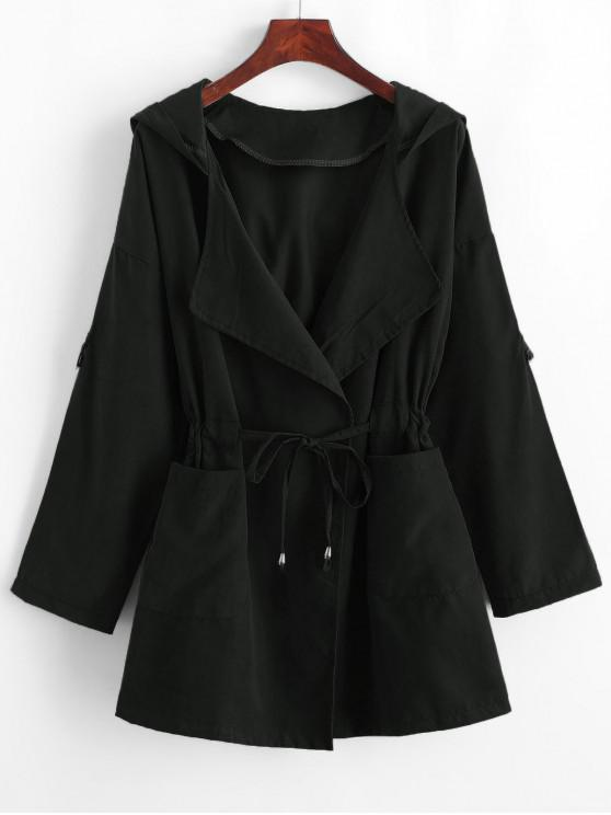 chic Solid Color Drawstring Hooded Coat - BLACK M