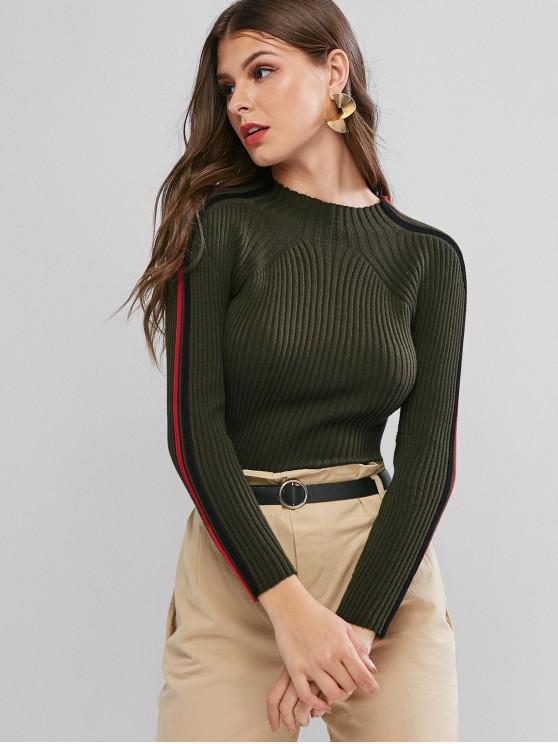 new Ribbed Side Colorblock Mock Neck Sweater - DEEP GREEN ONE SIZE