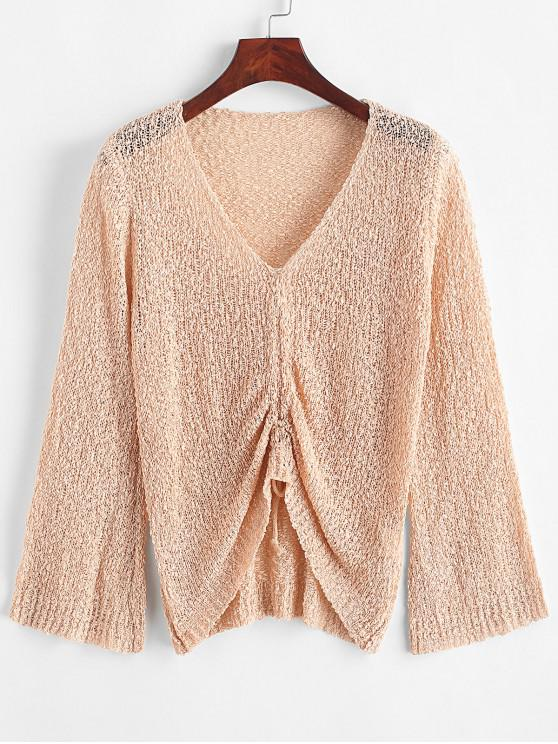 trendy Flare Sleeve Cinched Front V Neck Sweater - APRICOT ONE SIZE