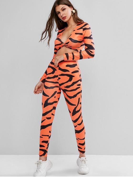 Camo Print profondo scollo a V top e pantaloni a vita alta - Arancio M