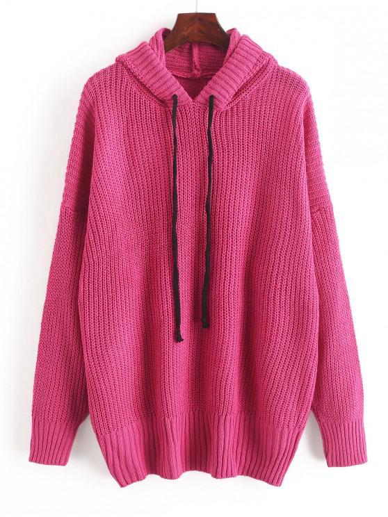 Caída del hombro con capucha con cordón Suéter tipo túnica - Rosa Roja Talla única
