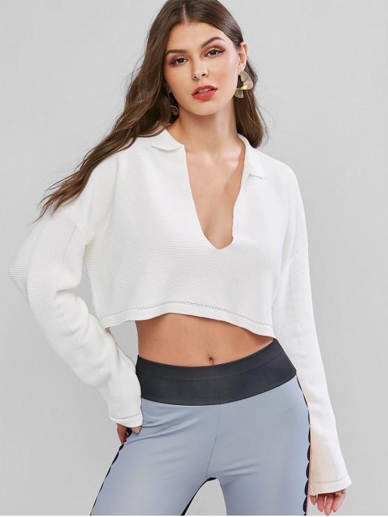 Plunge caída del hombro acanalada suéter de cultivos de gran tamaño - Blanco Talla única