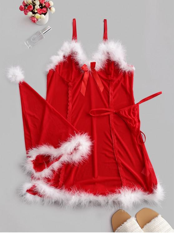 Ensemble de Body de Noël en Maille avec Plume et de Chapeau - Rouge 2XL