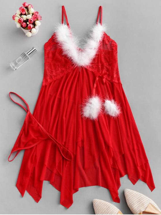 عيد الميلاد الملابس الداخلية بيبي دول مجموعة المنديل هيم - أحمر XL