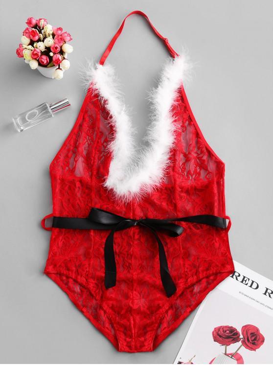 Weihnachten Halter Sheer Spitze Lingerie Strumpfband Teddy - Rot 2XL