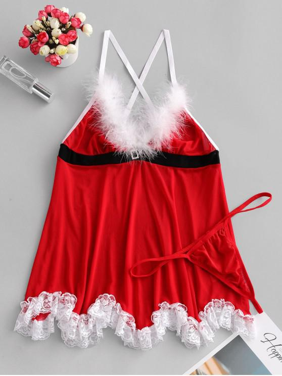 fancy Christmas Sheer Mesh Lingerie Babydoll Set - RED XL