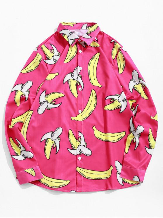 best Banana Pattern Casual Full Sleeves Shirt - ROSE RED L