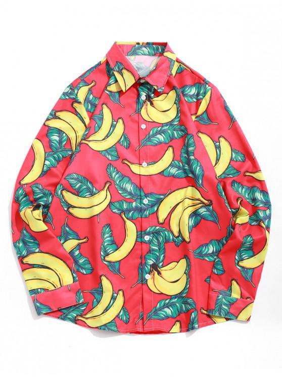 Imprimir la hoja del plátano completa mangas de la camisa - Rojo S