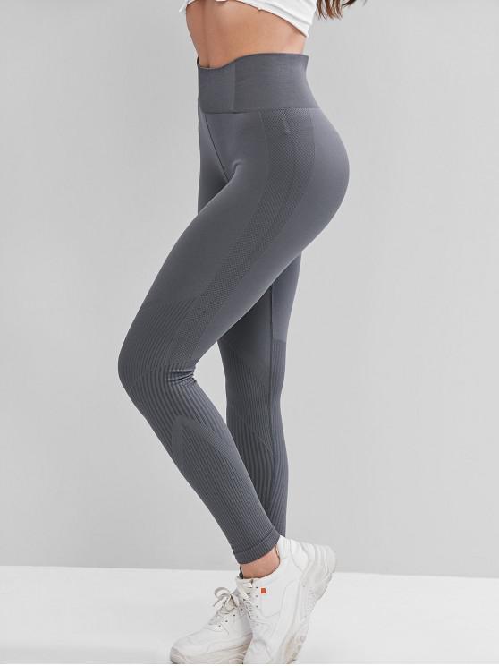 online High Waist Solid Sports Leggings - GRAY M