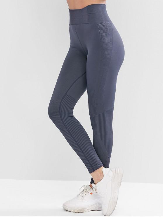 sale High Waist Solid Sports Leggings - SLATE BLUE L
