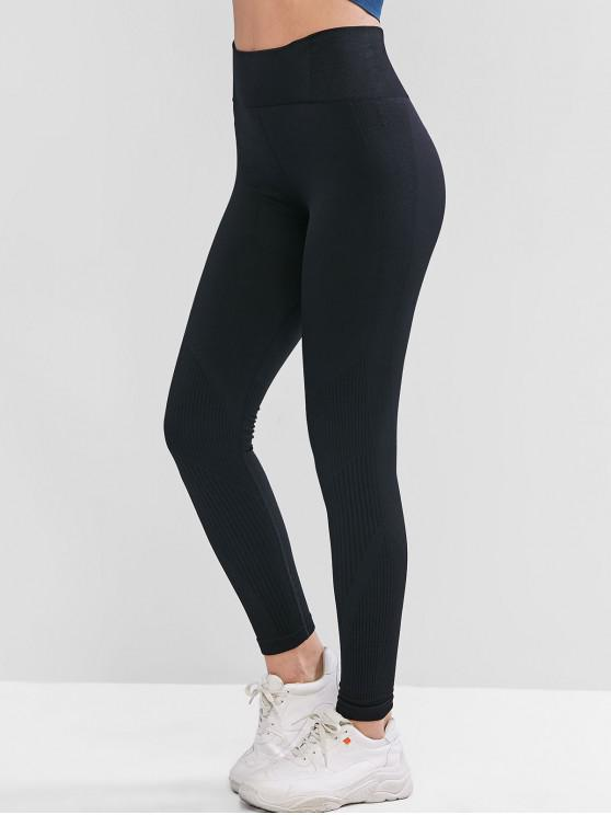 affordable High Waist Solid Sports Leggings - BLACK S