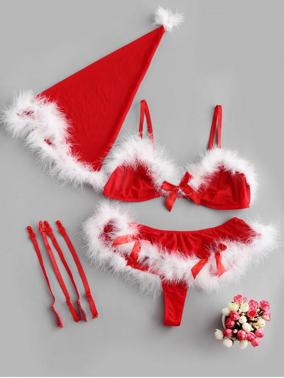 hot Feather Trim Christmas Hat and Bra Set - RED S