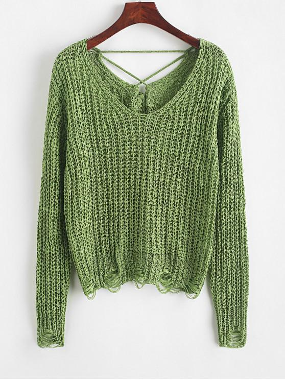 women Distressed Lace Up Back V Neck Sweater - GREEN ONE SIZE