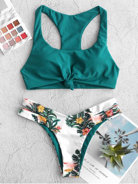 shops ZAFUL Plant Print Knot Racerback Bikini Swimsuit - GREENISH BLUE L