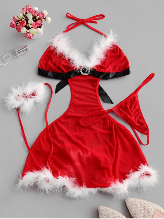 hot Christmas Cut Out Cosplay Lingerie Babydoll Set - RED S