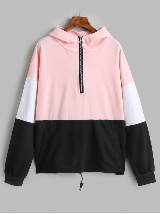 fashion Half Zip Colorblock Hoodie with Pockets - PINK L